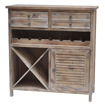 Jackson 2 Drawer Weathered Oak Wine Cabinet By Crestview Collection Cvfzr756