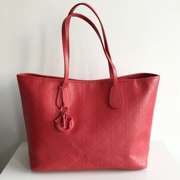 Authentic CHRISTIAN DIOR Panarea Lady Dior Coral Red Canvas Tote
