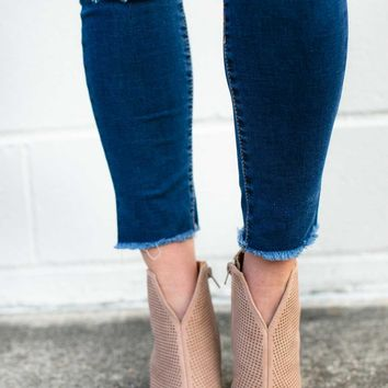 Redefine You Suede Taupe Booties