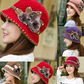 Ladies Winter Warm Caps Beautiful Wool Crochet Knitted Flowers Decorated Ears Hats Beanies