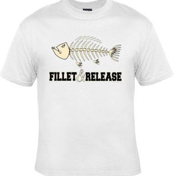 T SHIRT fillet realease fish bones UNIQUE Cool Funny Humorous clothes T Shirts Tees, Rude Tees T-Shirt designs graphic