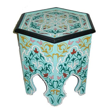 Handpainted Arabesque II Aqua Green Wooden End Table (Morocco) | Overstock.com Shopping - The Best Deals on Coffee, Sofa & End Tables