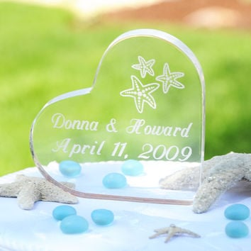 Opentip.com: Cathy's Concepts 1309 Beach Wedding Acrylic Heart Cake Topper