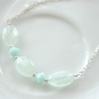 Prehnite Necklace Sterling Silver Chain Mint Crystals Oval Stone