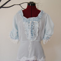 Powder blue Victorian inspired top Marie Antoinette