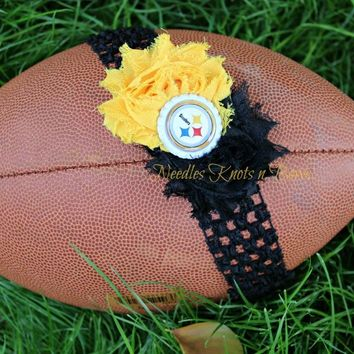 Pittsburgh Steelers Headband, Steelers Shabby Chic Headband, Football Headband, Baby Girls, Girls, Womens Hair Accessories
