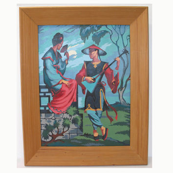 Paint By Numbers Painting Chinese Love Scene Guitar Oriental Framed 1950s Vintage FindingMaineVintage