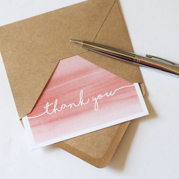 50 Coral Watercolor Thank You Cards // Wedding Thank You Cards // Engagement Thank You Cards // Professional Thank You Cards