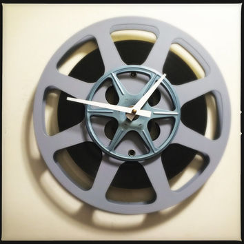 Film Reel Wall Clock Media Room Wall Clock Screening Room Wall Clock Gray and Blue Film Reel Clock