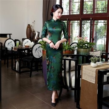 High Quality Silk Chinese Women Dress Sexy Long Sheath Cheongsam Qipao Elegant Print Flowers Dresses S M L XL XXL XXXL