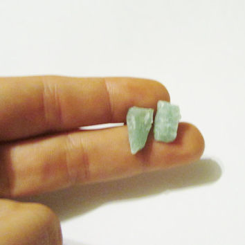 Large Raw Green Quartz Stud Earrings | QG005 | Natural Quartz Posts | Green Crystal Earrings |