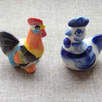 Rooster figurine sculpture, Rooster totem talisman spirit animal, symbol of the year 2017, Miniature Ceramic Handmade Rooster Hen Chicken