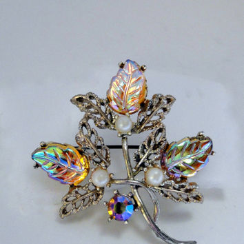 Vintage Brooch Iridescent Molded Glass Leaves Dollar Days Sale