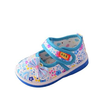 Baby shoes Infant Baby Girls Sound Bow knot Shoes Soft Sole Anti-slip Sneakers