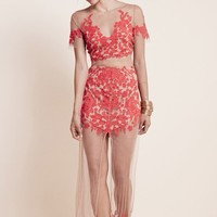 For Love & Lemons Luau Maxi Skirt in Red