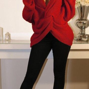 Wrap Sweater Red