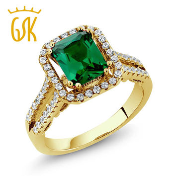 18K Yellow Gold Plated Silver Ring 2.78 Ct  Russian Nano Emerald Vintage Engagement Rings For Women Fine Jewelry GemStoneKing