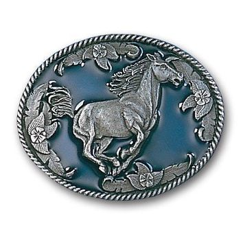 Sports Accessories - Galloping Horse Enameled Belt Buckle