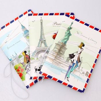 ONETOW 2016 New Postcard Envelope Design 3D PU Passport Cover ID Credit Card Cover Holder for Travel
