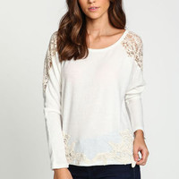 Crochet Trim Pullover Sweater - LoveCulture