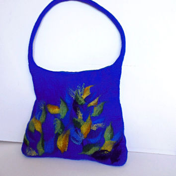 Felted bag, hand felted wool bag purse, unique handbag, designer's art bag OOAK blue with colourful design bag