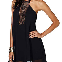 Black Halter Backless with Cut-Out Floral Lace Mini Dress