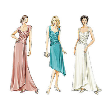 WOMEN'S EVENING GOWN Pattern Fit & Flare Cocktail Wedding Dress Bridesmaid Bridal Gown Vogue 8150 Bust 34 36 38 UnCUT Womens Sewing Patterns
