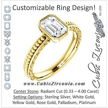 Cubic Zirconia Engagement Ring- The Cheyenne (Customizable Radiant Cut Bezel-set Solitaire with Beaded Filigree Three-sided Band)