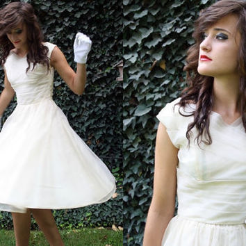 1950s prom dress / white chiffon ivory / by thewitcheryvintage
