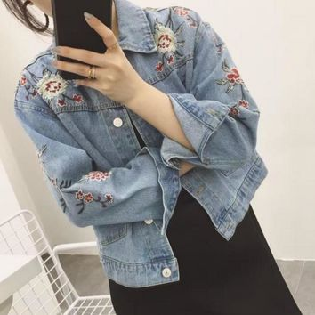 GUCCI Embroidered flowers Denim blue Cardigan Jacket Tagre™