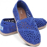 TOMS Blue Moroccan Cutout Women's Classics Slip-on Shoes,