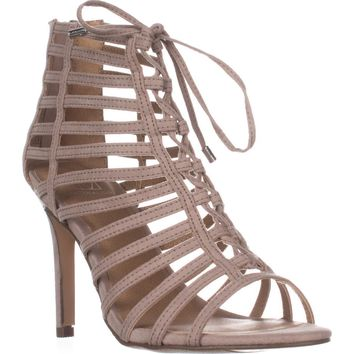 MG35 Raquel Gladiator Ankle Booties, Taupe, 6.5 US