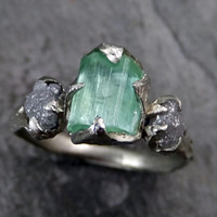 Raw sea green Tourmaline Diamond White Gold Engagement Ring Wedding Ring One Of a Kind Gemstone Ring Bespoke Three stone