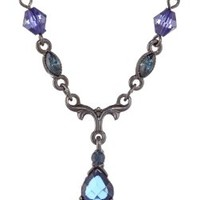 1928 Jewelry Vintage-Inspired Blue Crystal Drop Necklace