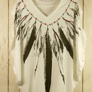 Feather Print Pea Oversize T-shirt - Short Sleeve - Tops - Retro, Indie and Unique Fashion