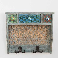 Painted Woodblock Wall Shelf- Blue One