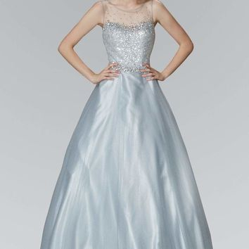 Elizabeth K - GL2111 Embellished Sheer Bodice and Back Tulle Gown