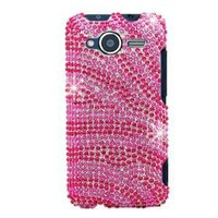 Hard Snap-on Shield With HOT PINK ZEBRA Bling Bling Diamonds Desing Faceplate Cover Case for HTC EVO SHIFT 4G (SPRINT) [WCE819]