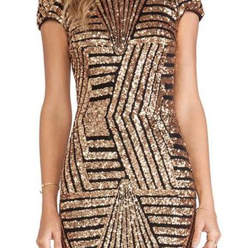 Golden Striped Sequin Round Neck Backless Glitter Sparkly Mini Dress