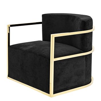 Black Velvet Swivel Chair | Eichholtz Emilio