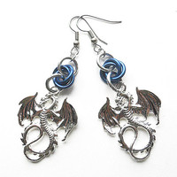 Dragon earrings, Gothic jewelry, Chainmaille, Blue dragon jewelry, Fantasy jewelry