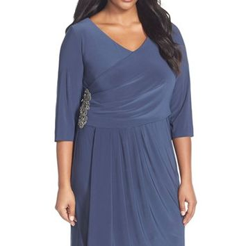 Plus Size Women's Alex Evenings Embellished Side Ruched Jersey Dress,
