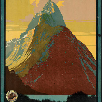 "c.1930s "" Visit New Zealand, Mitre Peak Mountain"" Travel Poster-Antique-Old-Vintage Reproduction Photograph/Photo: Gicclee Print. Frame it!"