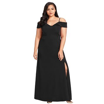 Black Long Off the Shoulder Plus Size Gown