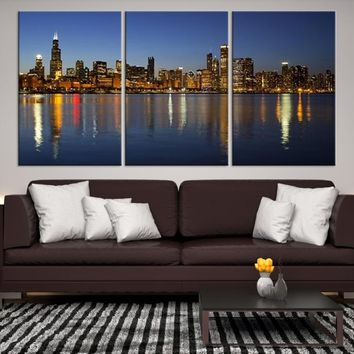62516 - Chicago Wall Art Canvas Print - Extra Large Chicago City Night Canvas Print