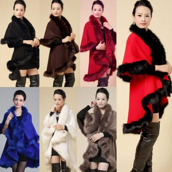 Poncho Cape Wrap Ladies Cashmere Scarf Fox Fur Cloak Shawl