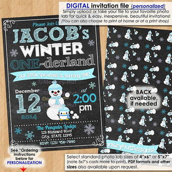 Boys Winter ONEderland Invitation Chalkboard ONE-Derland Birthday Party First Birthday Age 1 First DIGITAL INVITATION You print printable