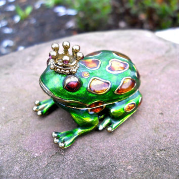 MONET Prince Charming Frog Trinket/Pill Box, Green Enamel Amber Glass, Vintage