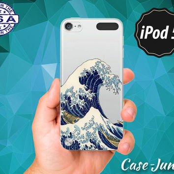 Japanese Tidal Wave Japan Art Blue Ocean Water Tumblr Cool Rubber Transparent Clear Case For iPod Touch 5th Generation or iPod Touch 6th Gen