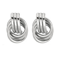 Sterling Silver Rhodium Finish 15mm Shiny Coil Type Love Knot Stud Earrings